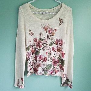 Floral Print Cream Colored Sweater M